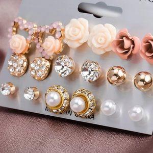 9 Pairs Heart Crystal Pearl Earrings